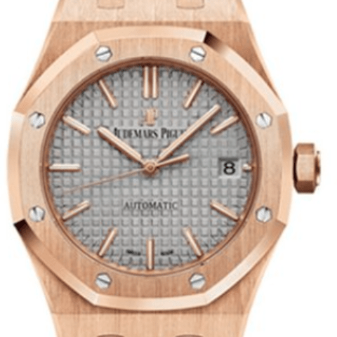 Audemars Piguet Royal Oak 37mm 18K pink gold case Grey dial - SEA Wave Diamonds