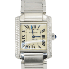 Cartier Tank Francaise Stainless Steel Diamond Quartz Ladies Midsize