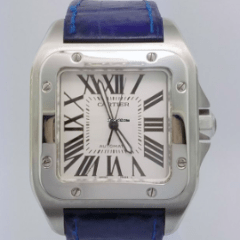 Cartier 2656 Santos 100 steel - SEA Wave Diamonds