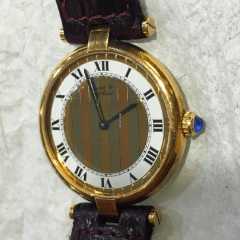 Cartier Vermeil Vendome Quartz Watch With Tri-gold Dial
