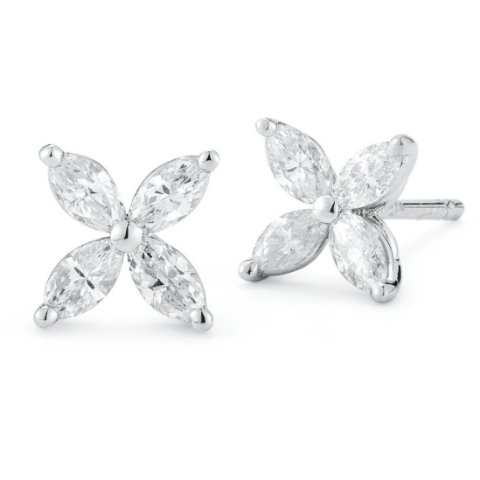 Marquise Diamond Stud Earrings Flower Style