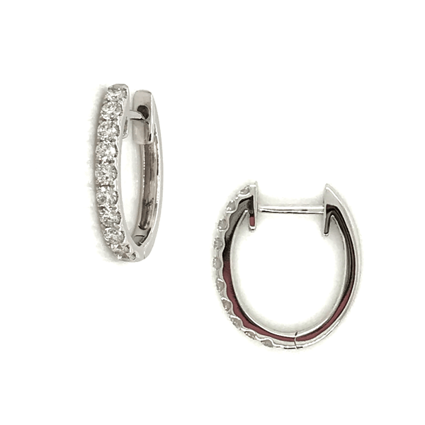 Petite Diamond Hoop Earrings in 18K White Gold - 0.36CTW