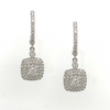 Square Shaped Halo Diamond Drop Earrings in 18K White Gold - SEA Wave Diamonds