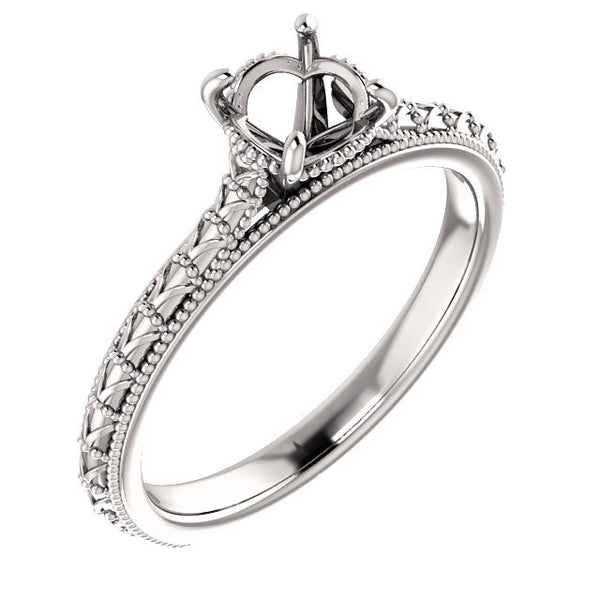 Milgrain Solitaire Engagement Ring - SEA Wave Diamonds