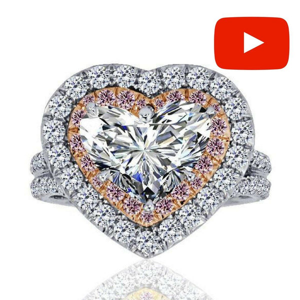Heart Diamond Halo Engagement Ring ENGR02894