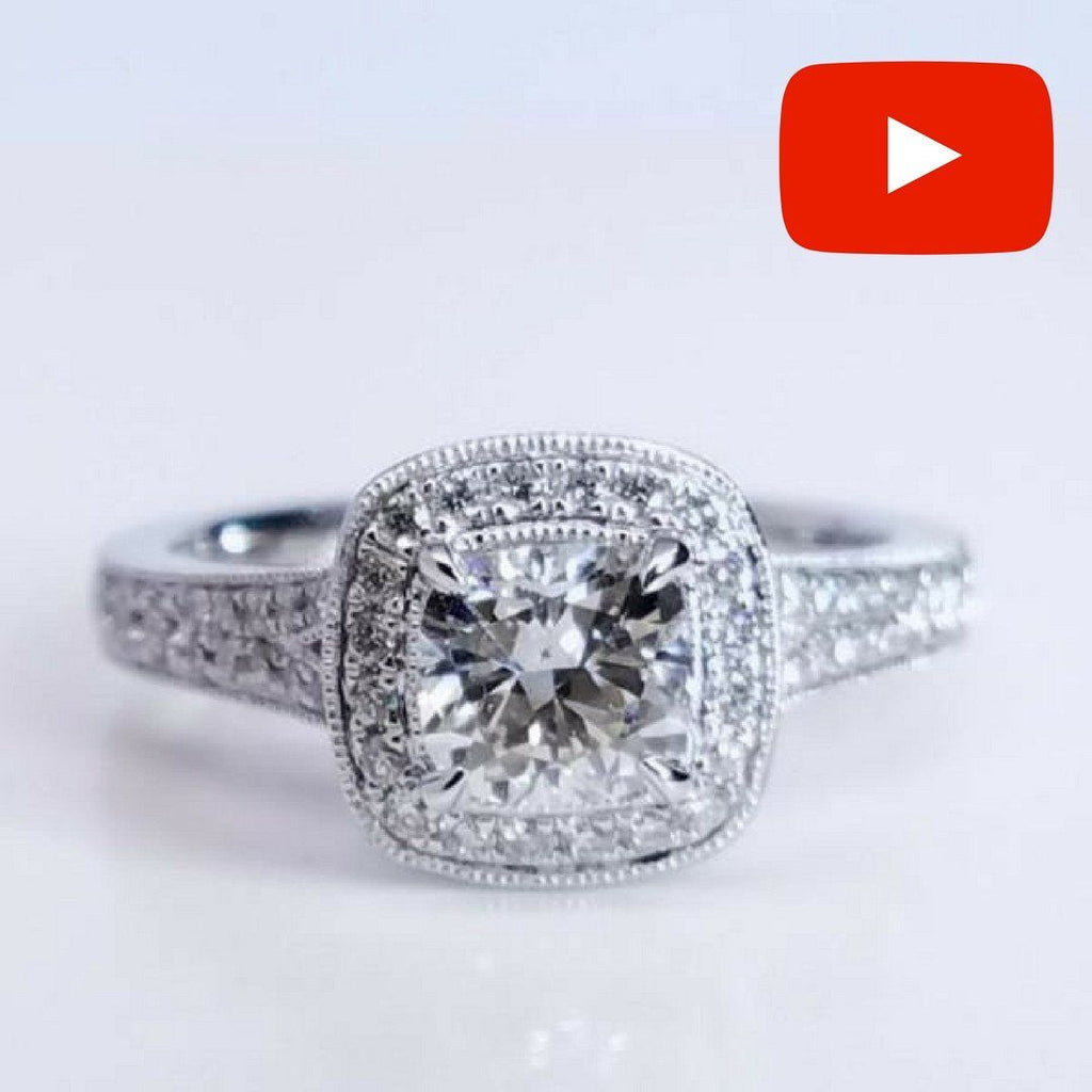 diamond vintage halo ring engagement cushion sku products cut