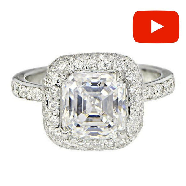 Asscher Cut Diamond Engagement Ring - SEA Wave Diamonds