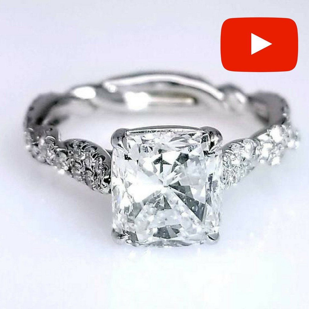 Handmade Cushion Cut Diamond Engagement Ring