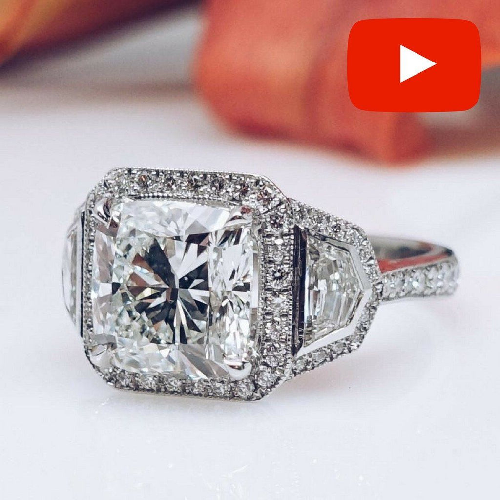 platinum cut cushion diamond engagement product ring