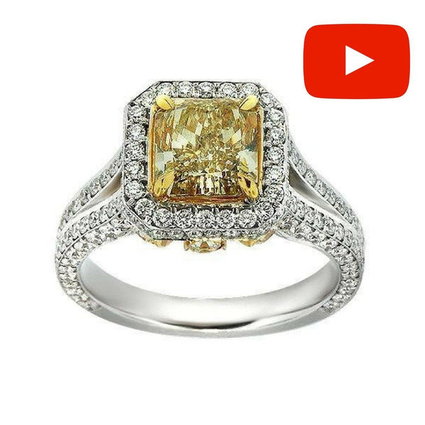 Fancy Yellow Radiant Cut Diamond Engagement Ring ENGR02850