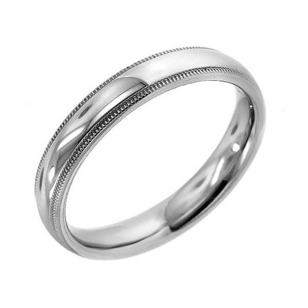 14K White Gold Plain Band - SEA Wave Diamonds