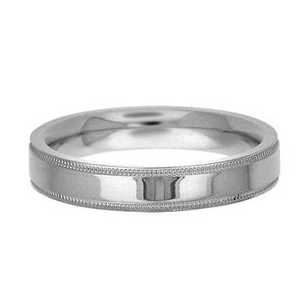 14K White Gold 4mm Milgrain Wedding Band - SEA Wave Diamonds