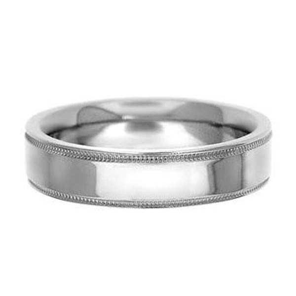 14K White Gold Wedding Band 5mm With Milgrain - SEA Wave Diamonds