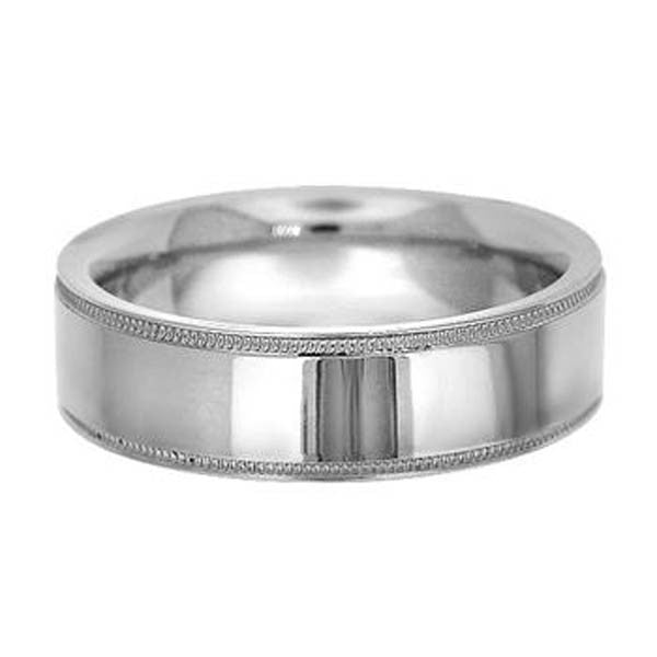 6mm 14KW Gold Wedding Band With Milgrain in 14K White Gold (6mm) - SEA Wave Diamonds