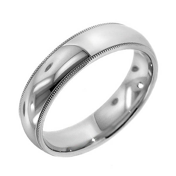 6mm Platinum Wedding Band With Milgrain in Platinum (6mm) - SEA Wave Diamonds