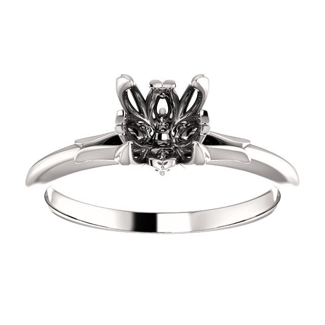 Round Engagement Ring Mounting - SEA Wave Diamonds