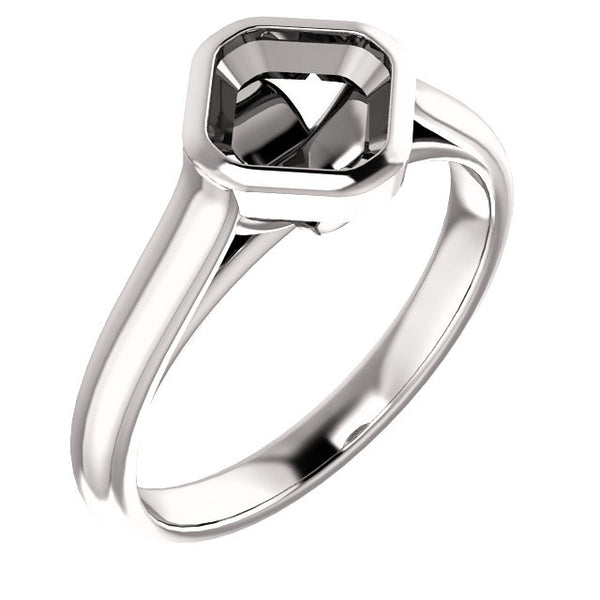 Solitaire Asscher Cut Setting - SEA Wave Diamonds