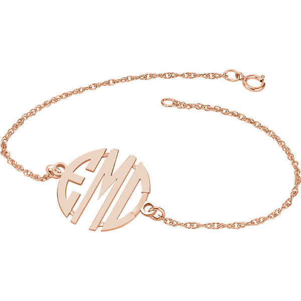 Letter Block Monogram Bracelet - SEA Wave Diamonds