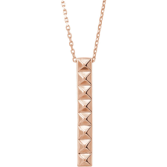 Pyramid Bar Necklace in 14K Rose Gold - SEA Wave Diamonds