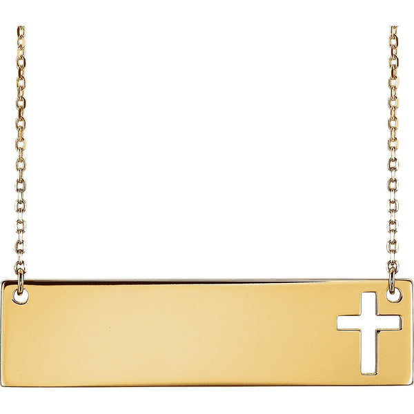 14K Engravable Cross Necklace