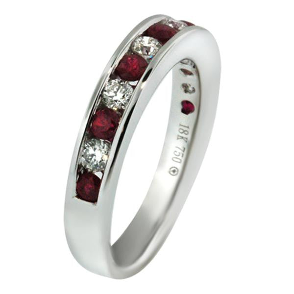 Diamond And Ruby Half Way Band in 18K White Gold - SEA Wave Diamonds