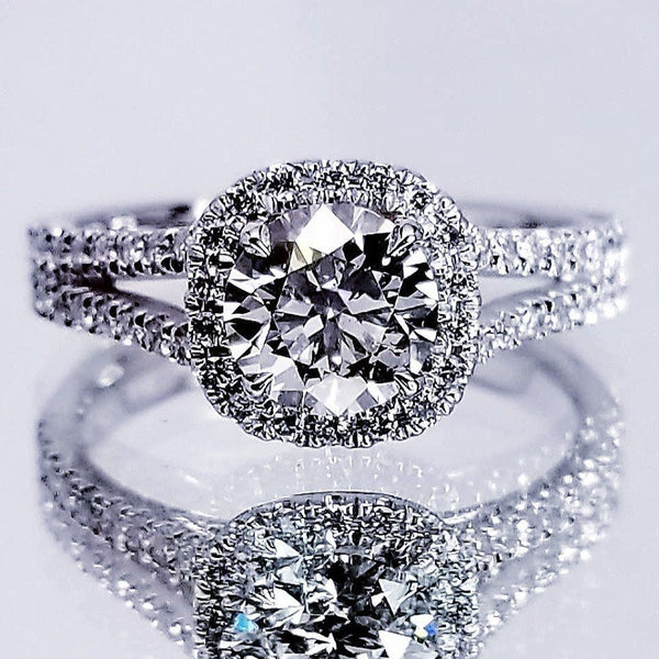 Round Cut Diamond Halo Set Engagement Ring