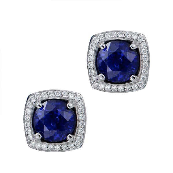 Sapphire Diamond Earrings In 18k White Gold - SEA Wave Diamonds