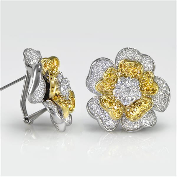3.72 Carat Yellow and White Gold Flower Earrings  in 18K White and Yellow Gold (3.72 ct. tw.) - SEA Wave Diamonds