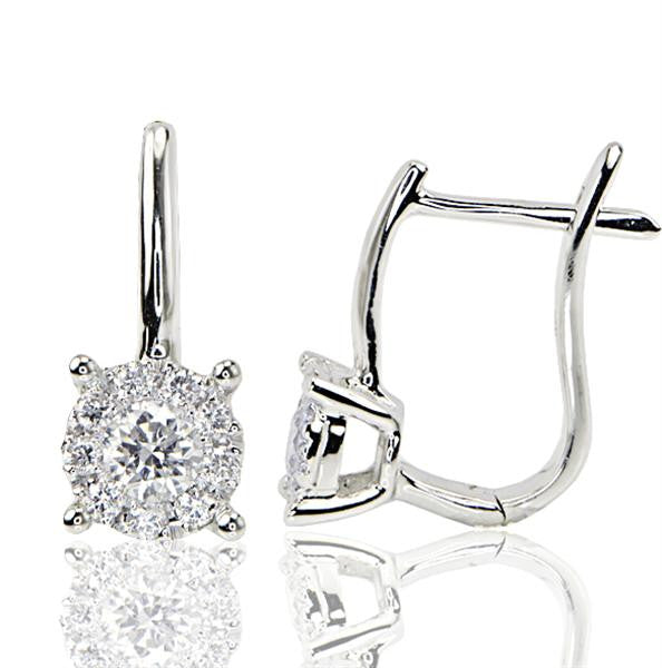 Round Pave/Prong Set Diamond Earrings - SEA Wave Diamonds