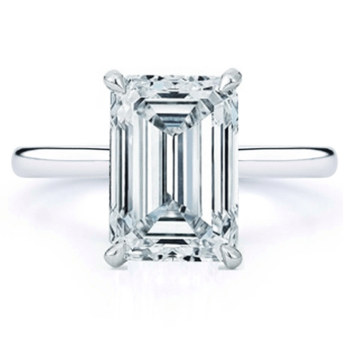 Emerald Cut Diamond Solitaire Engagement Ring - SEA Wave Diamonds