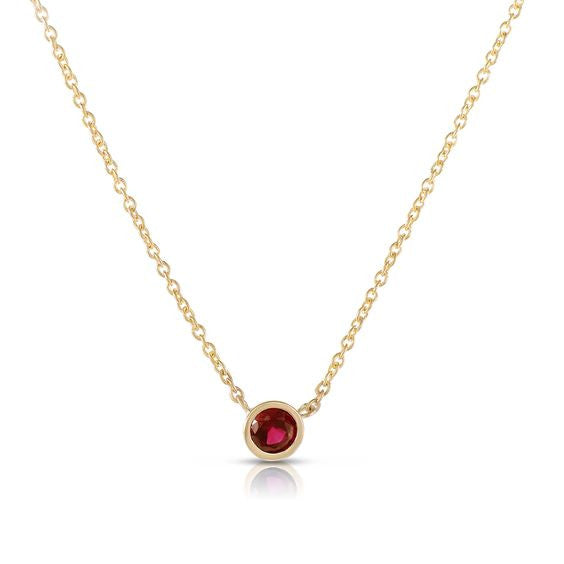 Single Ruby Necklace 18K Yellow Gold