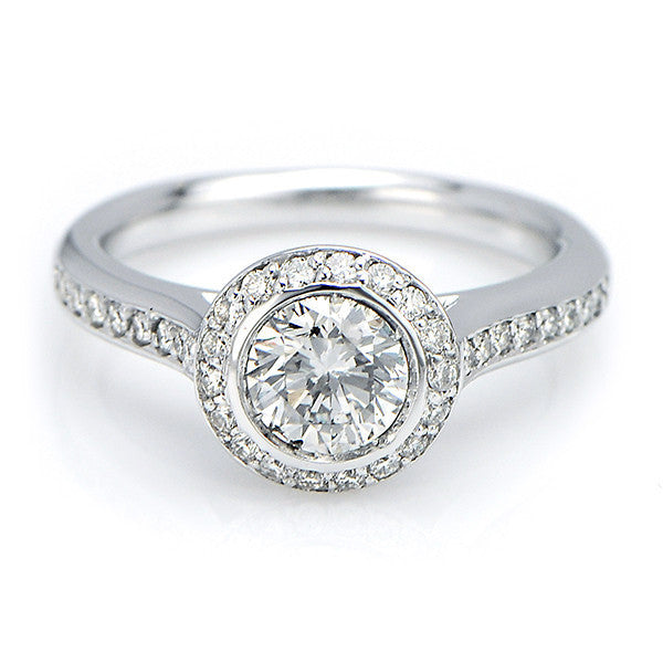 Bezel Set Halo Round Cut Engagement Ring - SEA Wave Diamonds