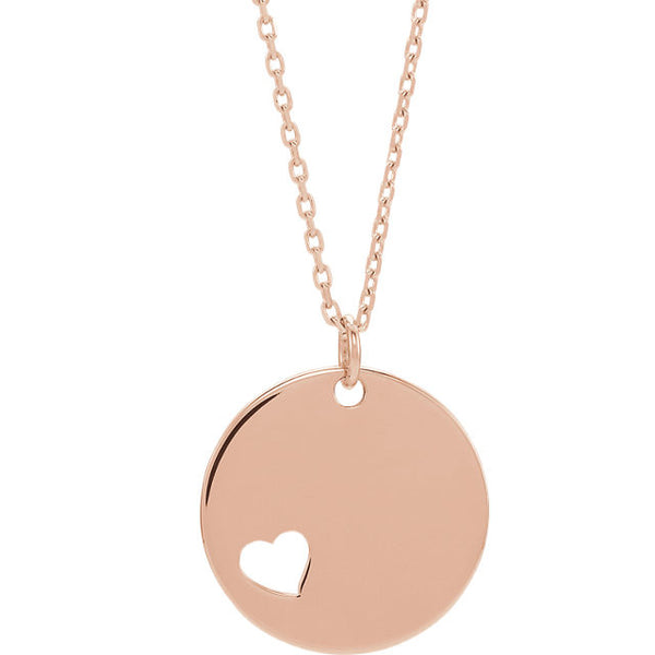 14K Pierced Heart Engravable Necklace