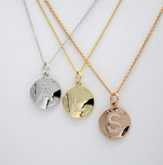 Diamond Initial Circle Concave Pendant - 14K Yellow Gold, Rose Gold, or White Gold Pendant - Handmade in New York City