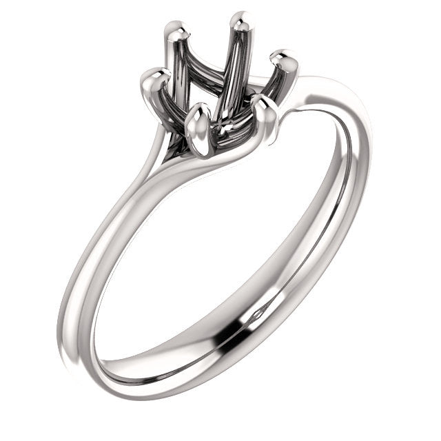 Six Prong Engagement Ring Mounting - SEA Wave Diamonds