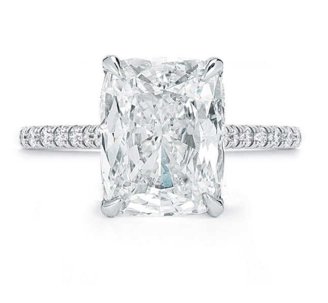 Cushion Cut Diamond Engagement Ring Pave Ring - SEA Wave Diamonds