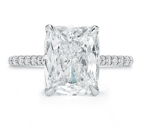 Cushion Cut Diamond Engagement Ring Pave Ring
