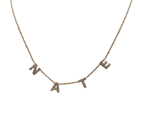 Diamond Pave Initial Name Necklace
