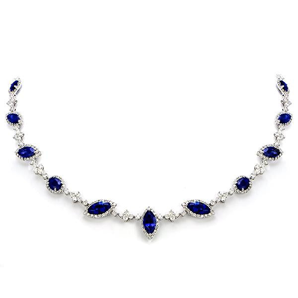 Sapphire And Diamond Necklace In 18k White Gold - SEA Wave Diamonds