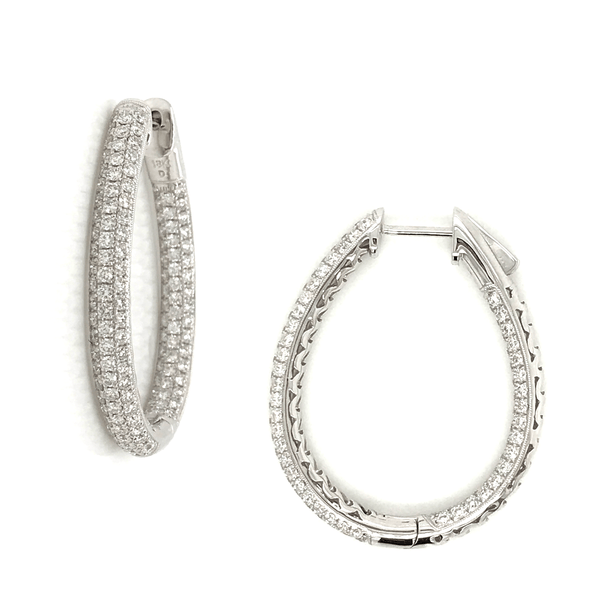 Dramatic Oval Shaped Diamond Micropavé Hoop Earrings with Lever Closure