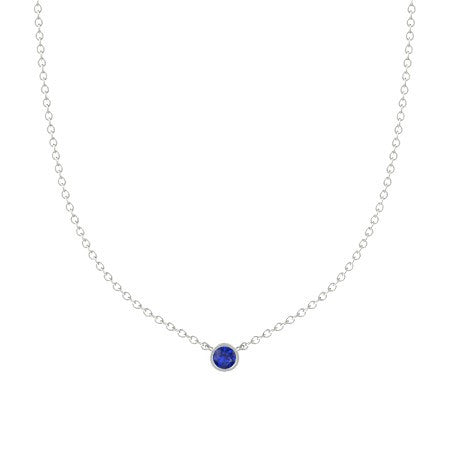 Single Sapphire Necklace 18K White Gold PEND01691