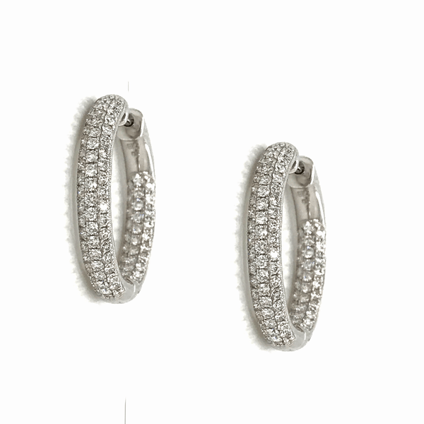Micropavé 2.05 Carat Round Diamond Hoops in 18K White Gold - SEA Wave Diamonds