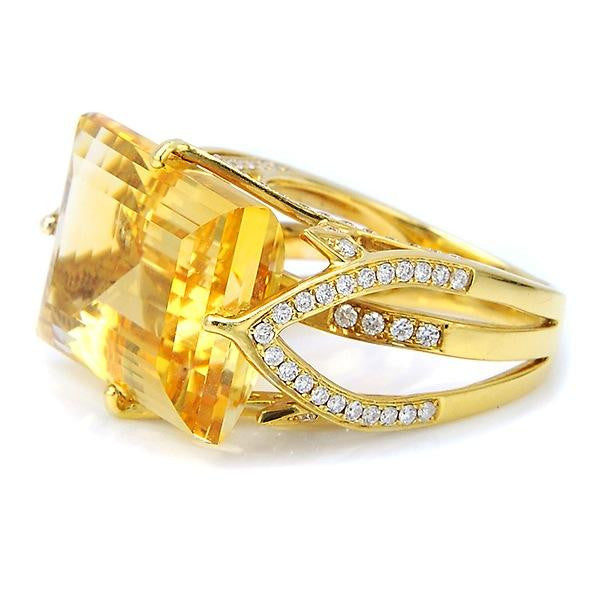 Citrine And Diamond Fashion Ring In 18k Yellow Gold - SEA Wave Diamonds
