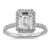 Halo Emerald Cut Engagement Ring Setting For An Emerald Cut Diamond Or Gem