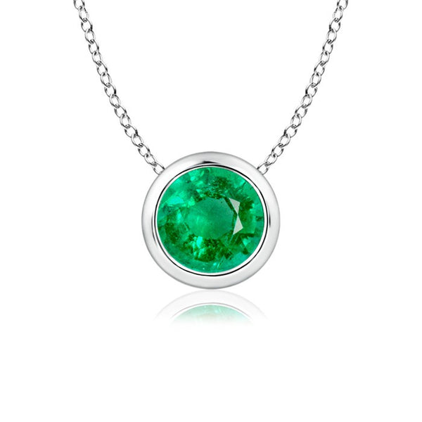 Single Emerald Necklace 18K White Gold