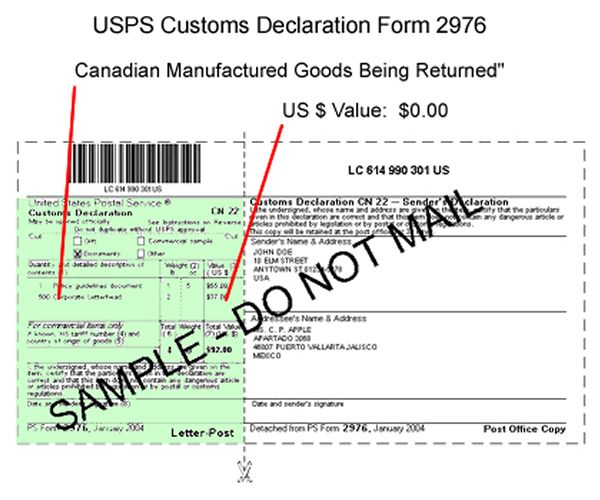 US Postal Service Customs Declaration form