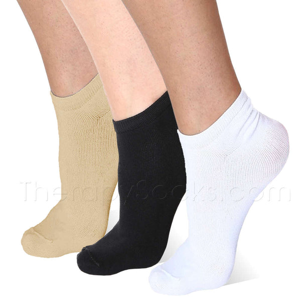 3 pair Beige, Black & White Far Infrared Bioceramic Circulation Ankle Socks