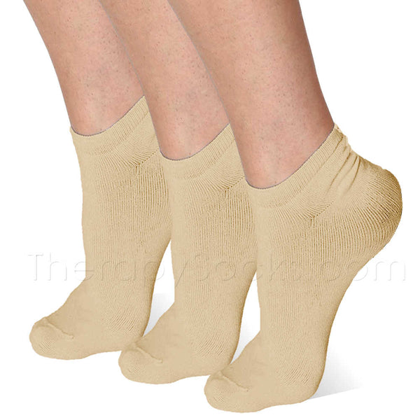 3 pair Beige (nude) Far Infrared Bioceramic Circulation Ankle Socks