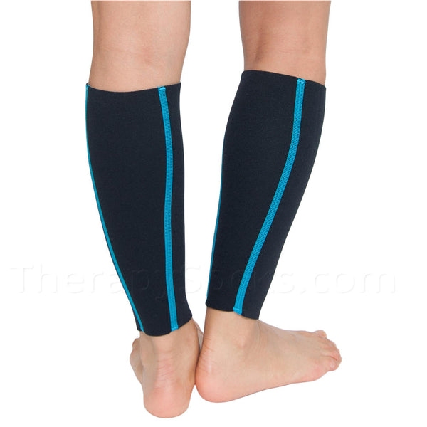 Turquoise Slimming Calf Sleeves are made with Bioceramic Infused Neoprene