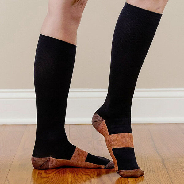 Copper Anti-Fatigue Compression Knee High Socks in Black